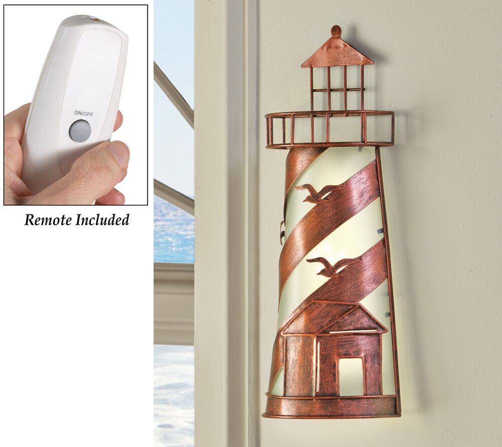 Wall Lamp With Remote : Remote Control Nautical Lighthouse Wall lamp Coastal Seagulls Coast Accent Lamp eBay