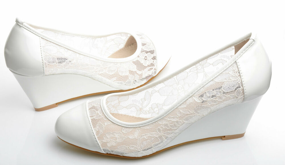 Wedge Heel Shoes For Wedding: New Off White Floral Lace Mid Heel Wedge Shoes Wedding