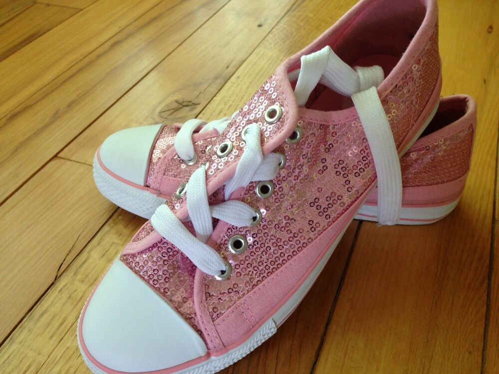 misses pink sequin sparkle canvas sneakers casual