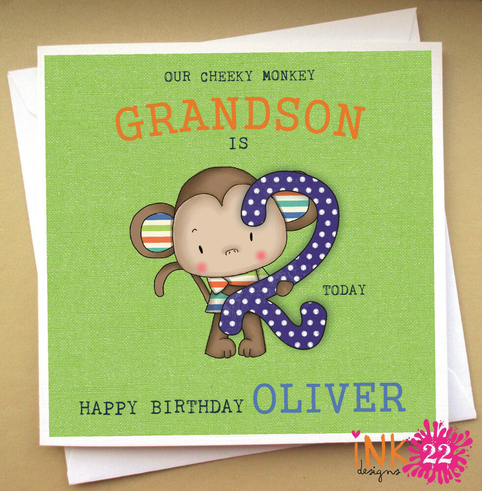 Details About Personalised Birthday Card Cheeky Monkey Son Nephew Grandson 1st2nd3rd4th