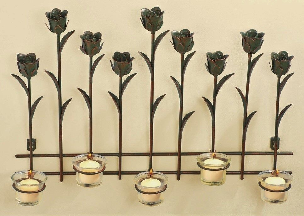Tulip tealight candle holder metal sconce 3d wall art spring floral 20 x14 ebay - Candle holders wall decor ...