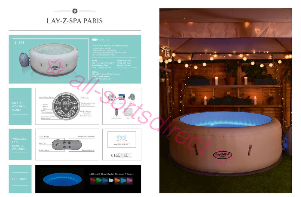2018 lay z spa paris airjet 4 6 person inflatable hot tub - Lay z spa miami ...