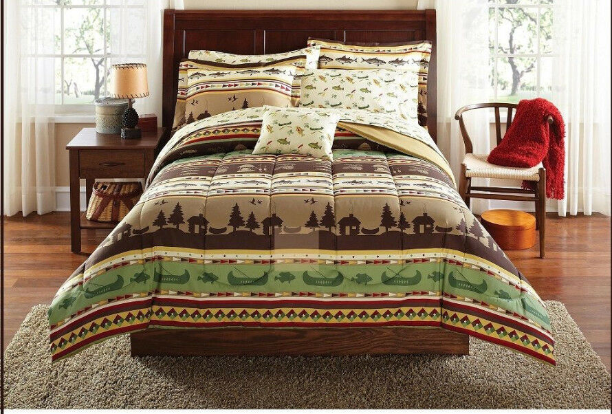 bedding comforter set bed in a bag queen size natural native fishing hunting 8pc ebay. Black Bedroom Furniture Sets. Home Design Ideas