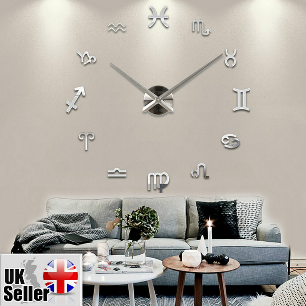 modern large wall clock 3d diy home decoration living room bedroom