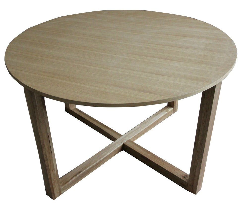 Solid oak round dining table d120cm ebay for Solid oak dining table