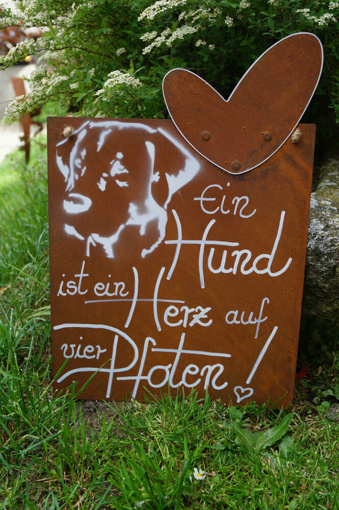 edelrost tafel ein hund ist ein herz spruch garten metall. Black Bedroom Furniture Sets. Home Design Ideas