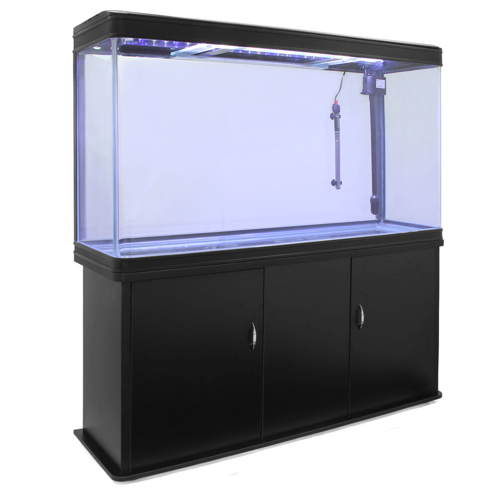 Small nano aquarium fish tank tropical - Fish Tank Cabinet Aquarium Led Light Tropical Marine Large Black 4ft 300 Litre
