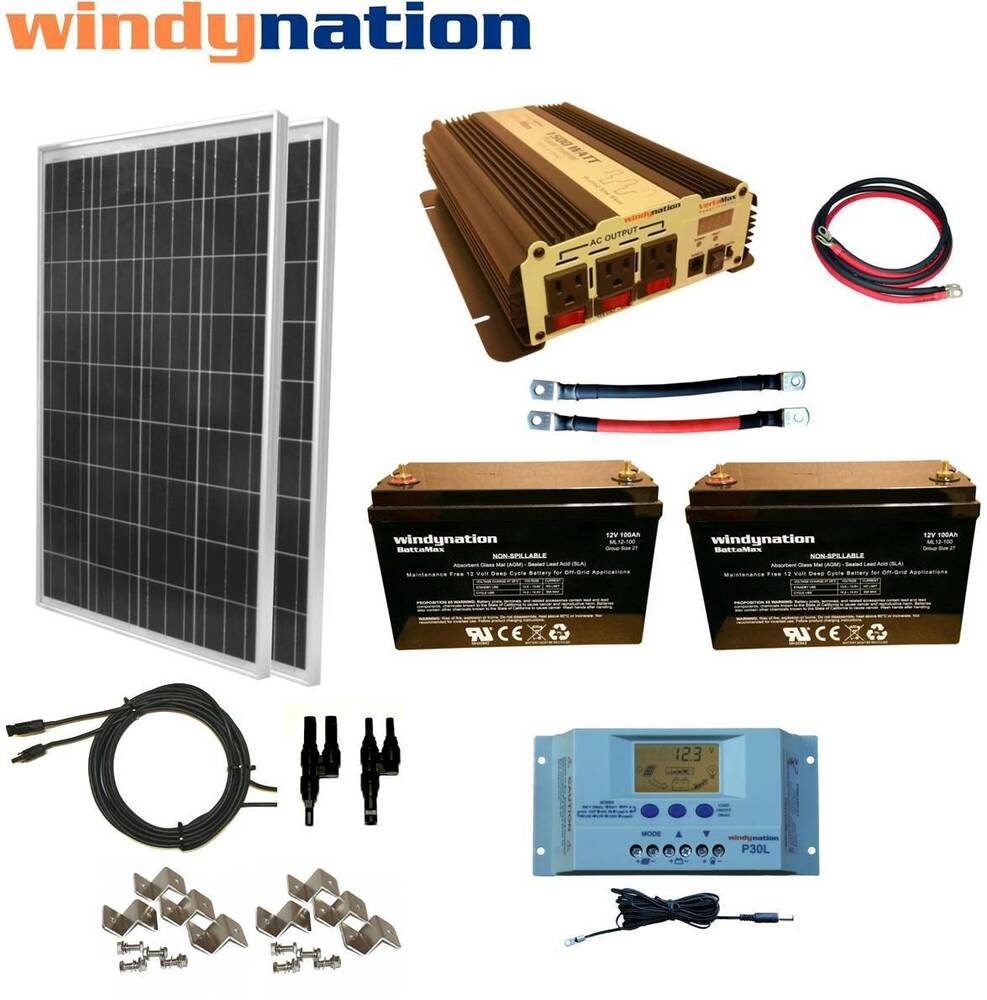 200w 12v Solar Panel Kit 1500w Inverter Agm Battery