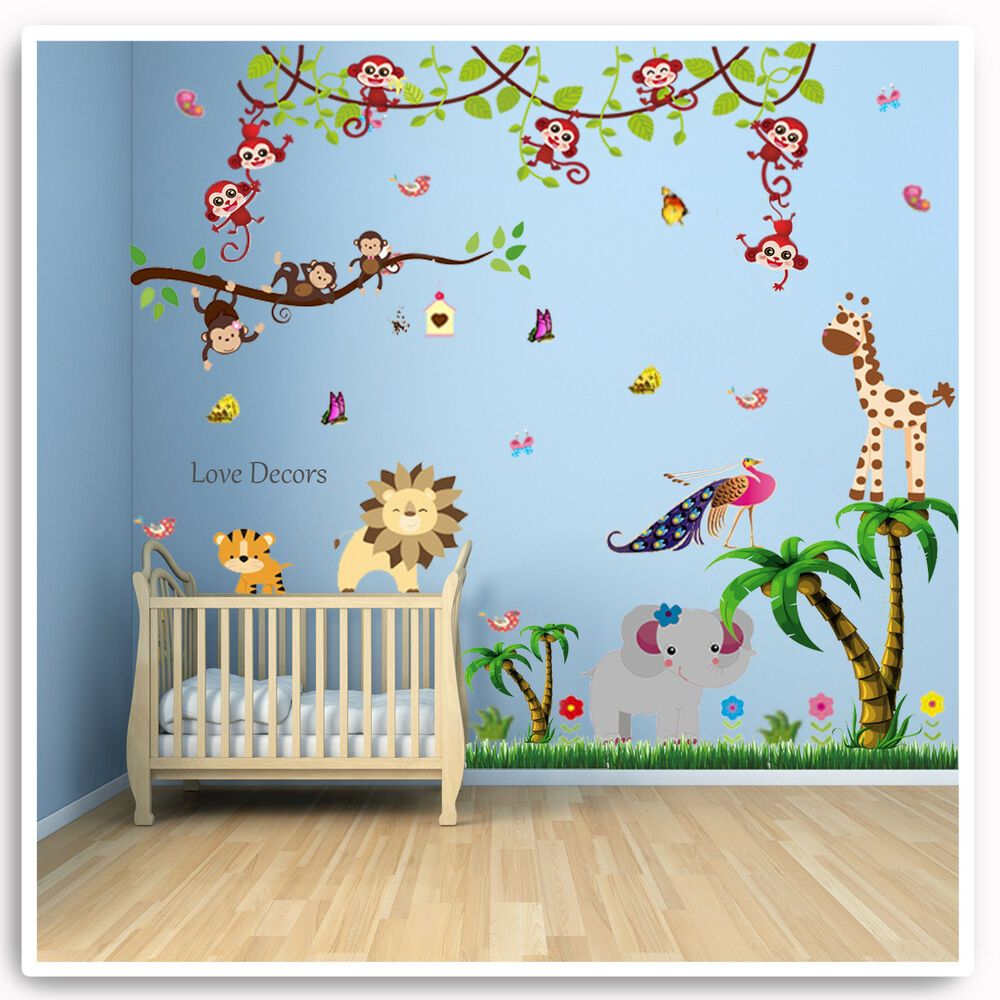 monkey wall stickers animal jungle zoo lion nursery baby kids bedroom decal art ebay. Black Bedroom Furniture Sets. Home Design Ideas
