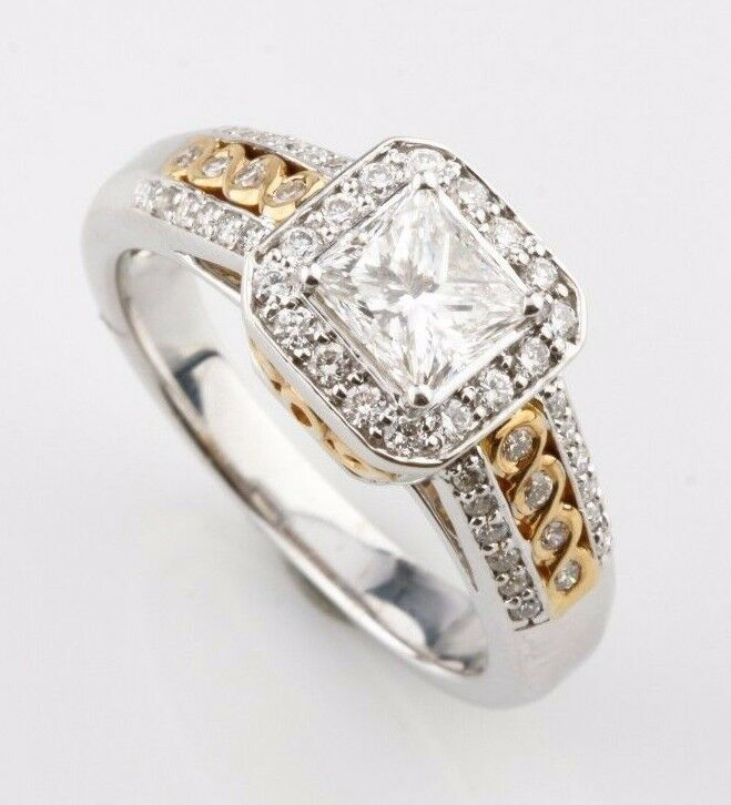 14k White & Yellow Gold Halo Set Princess Cut Diamond Engagement Ring