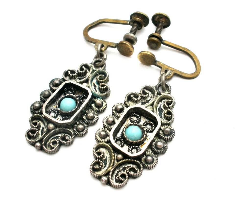 Dangle Turquoise Earrings 935 Sterling Silver Drop Israel ...