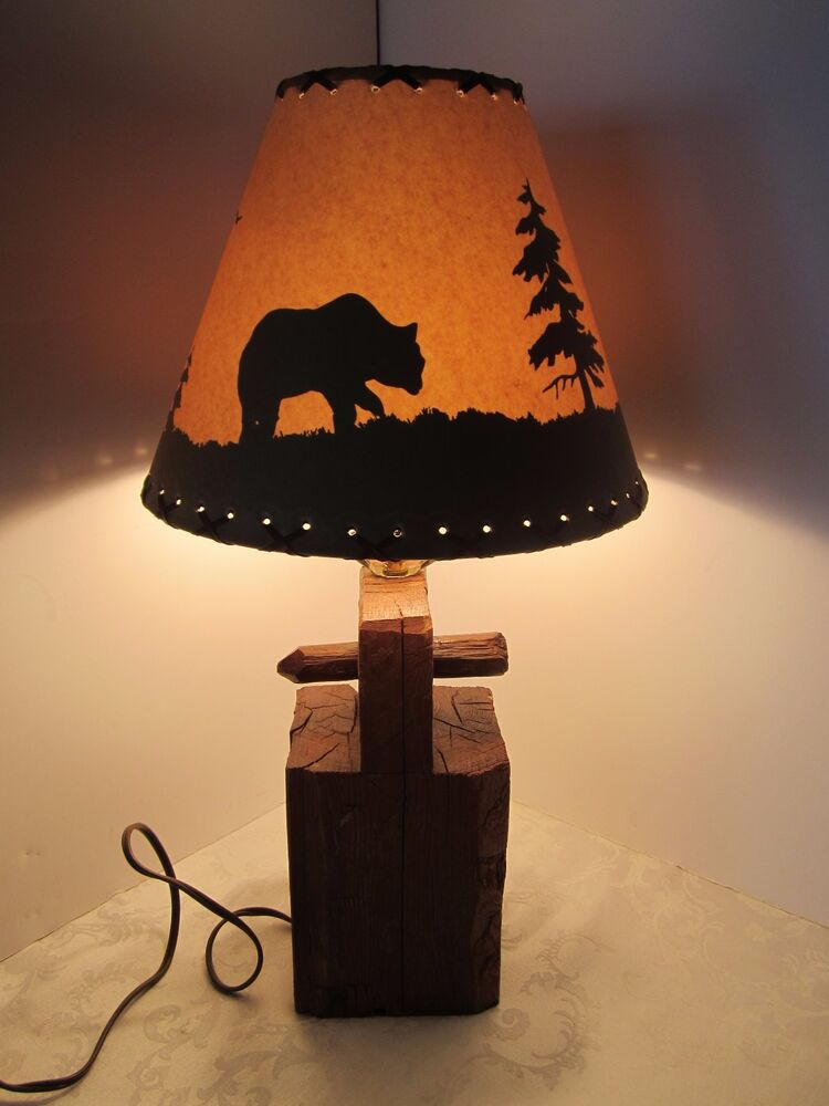 rustic reclaimed wood barn beam table lamp peg bear country shade vintage retro ebay. Black Bedroom Furniture Sets. Home Design Ideas