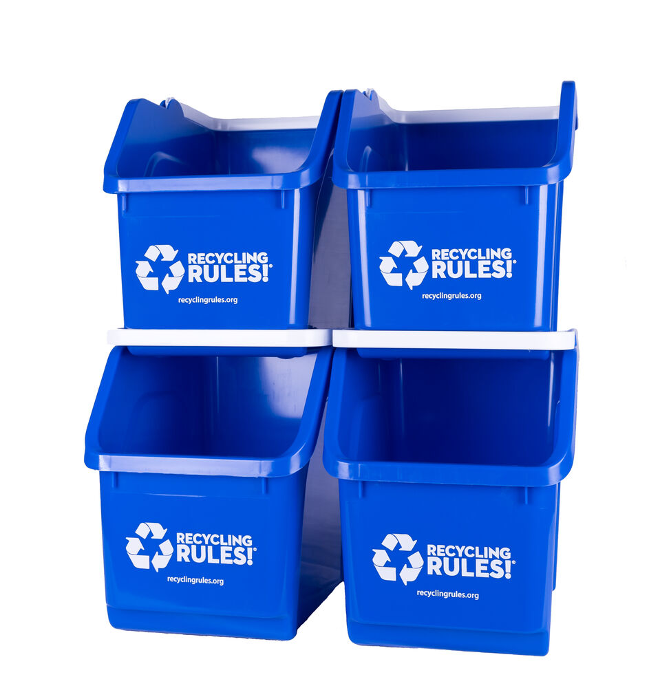 Stackable Blue Recycling Bin Container 6 Gallon Multi
