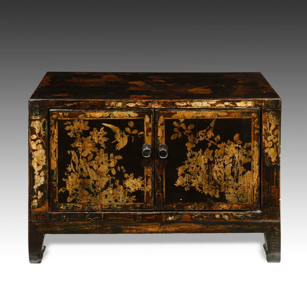 Antique chinese qing side cabinet painted lacquered elm for Oriental furniture