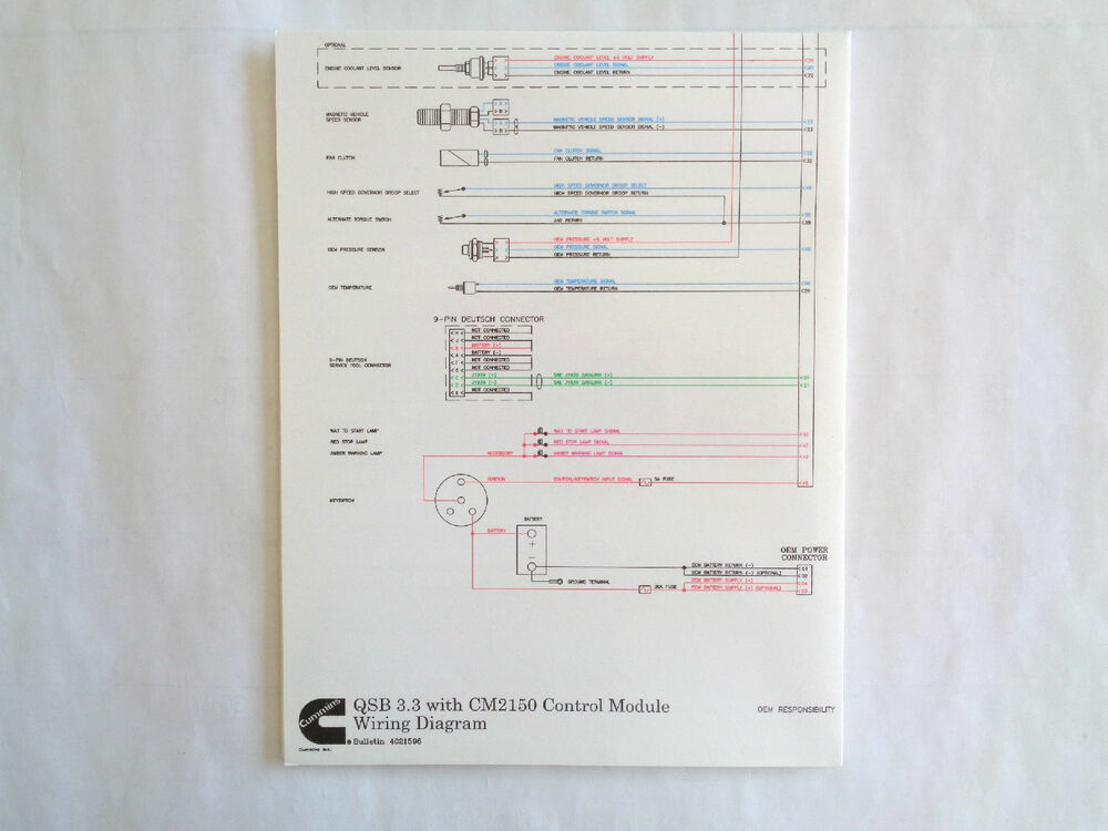 Cummins Laminated QSB    3      3    with CM2150 Control Module    Wiring       Diagram      eBay