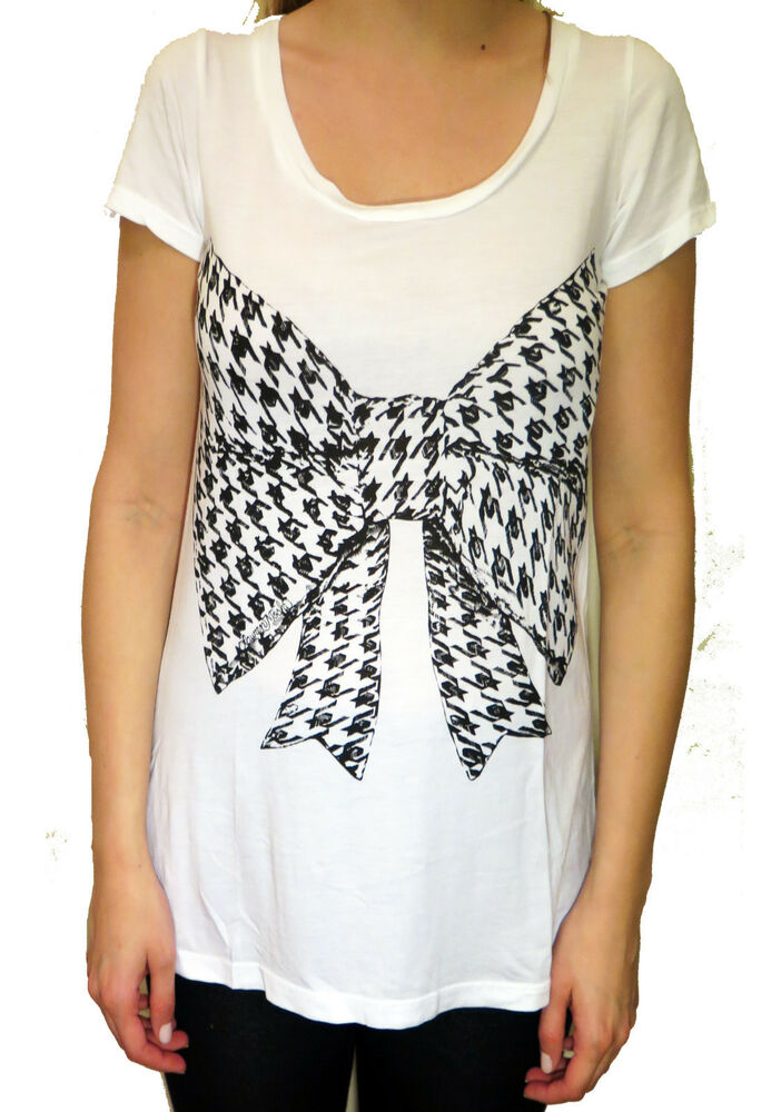 91c11f3cb Details about Lauren Moshi Ginger Houndstooth Bow Crew Neck Tee in White