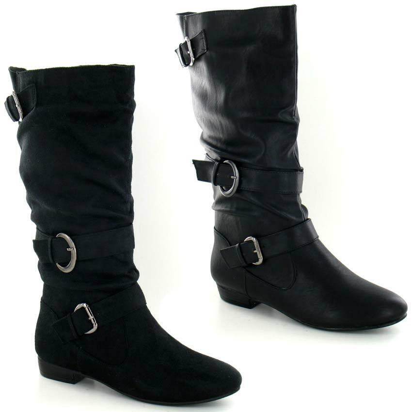 Womens Black Leather Look Low Heel Riding Biker Flat ...