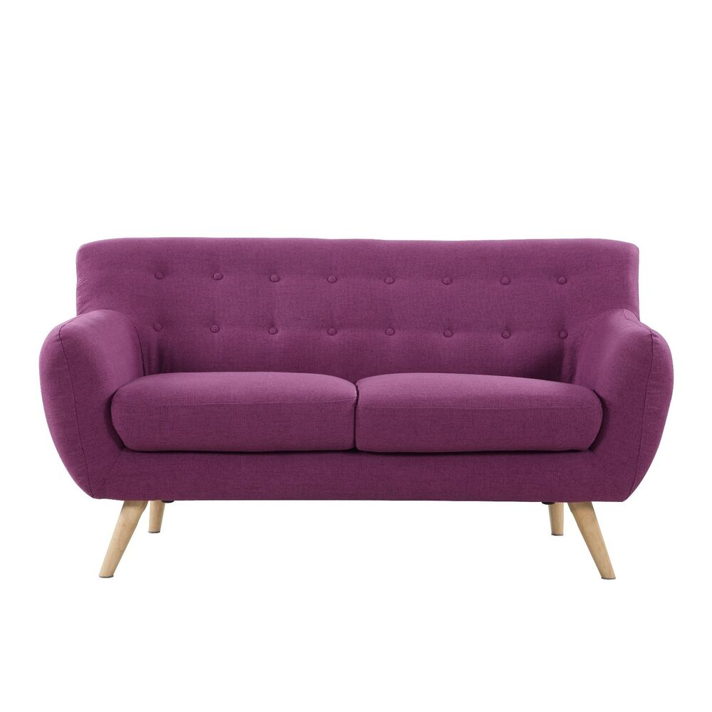 Mid Century Purple Modern Love Seat Living Room Furniture EBay
