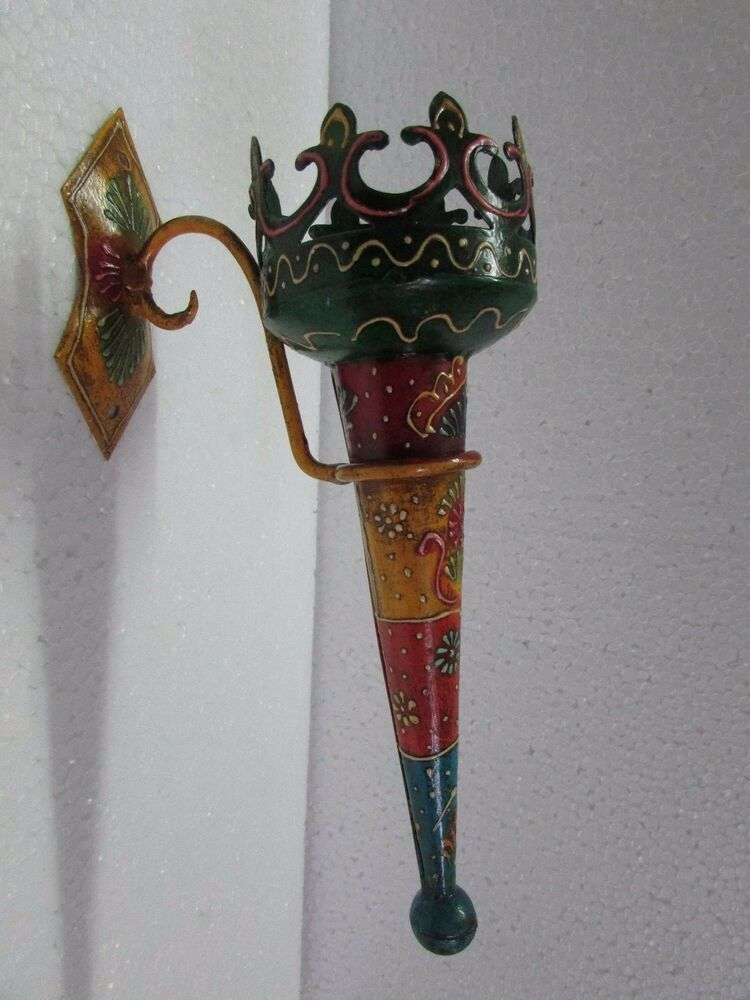 Handmade cast iron beautiful painted wall hanging candle light holder home decor ebay - Candle holders wall decor ...