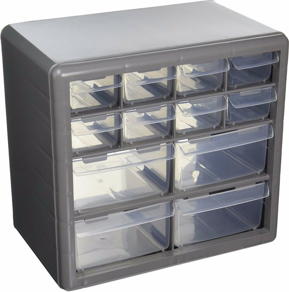Storage Organizer Cabinet 12 Plastic Drawer Boxes Parts