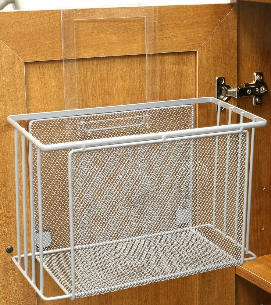 over the cabinet basket organizer bath kitchen storage behind the door holder ebay. Black Bedroom Furniture Sets. Home Design Ideas