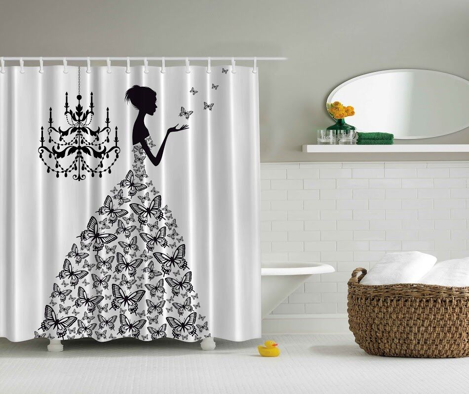 Chandelier Butterfly Gown Dress Shower Curtain Chic