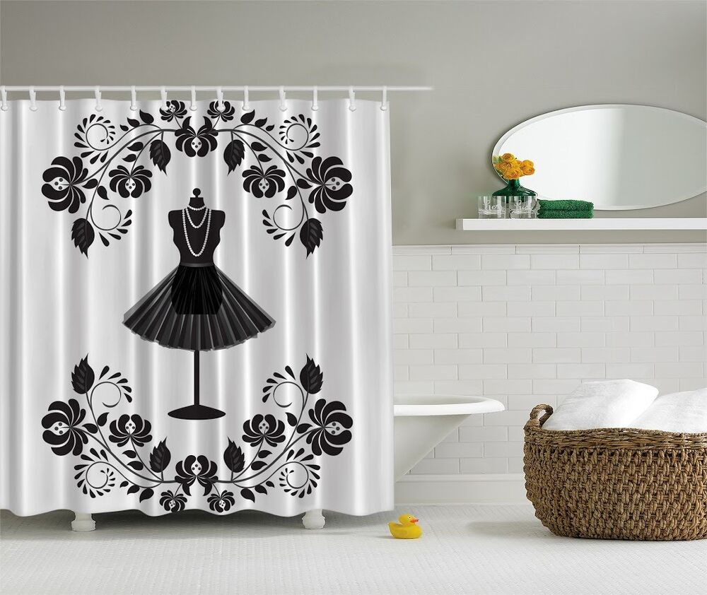Chic fashion diva black dress shower curtain glamour for Decor glamour