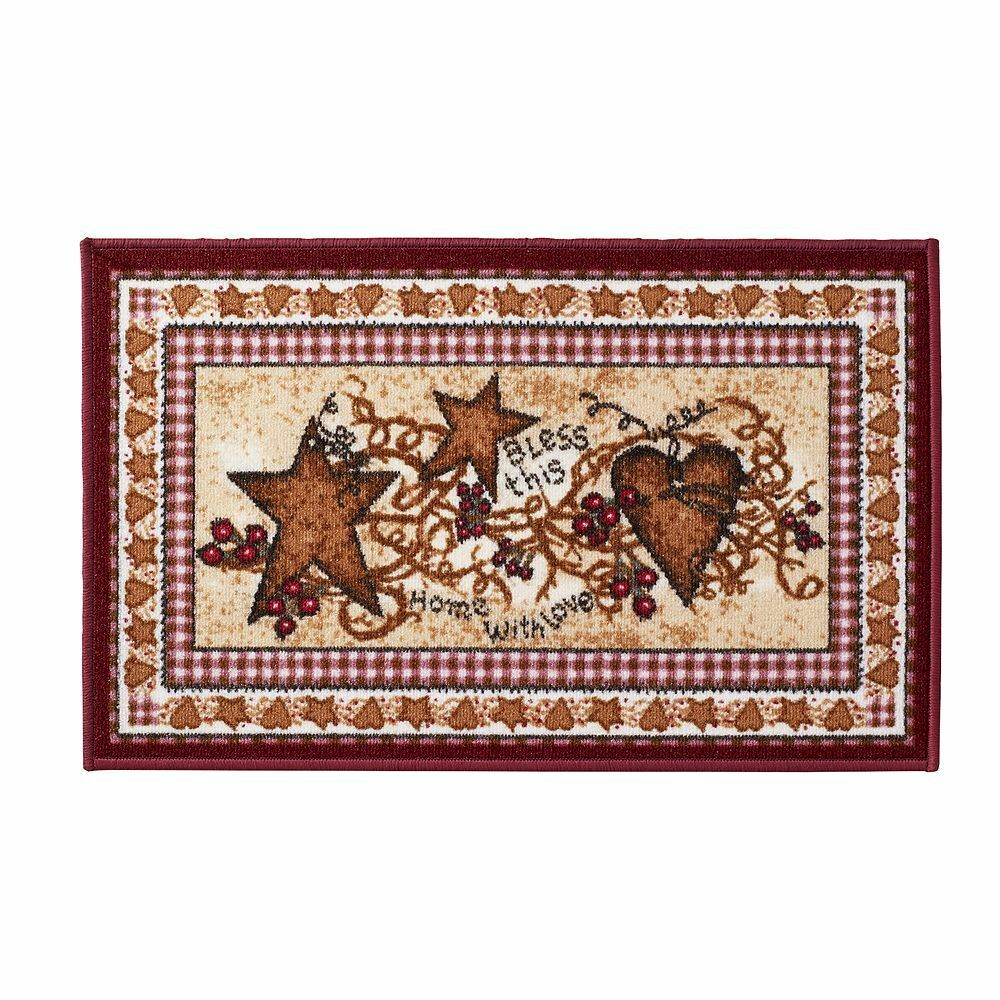Primitive Area Rugs Primitive Country Hearts and Stars Accent Rug Berries ...