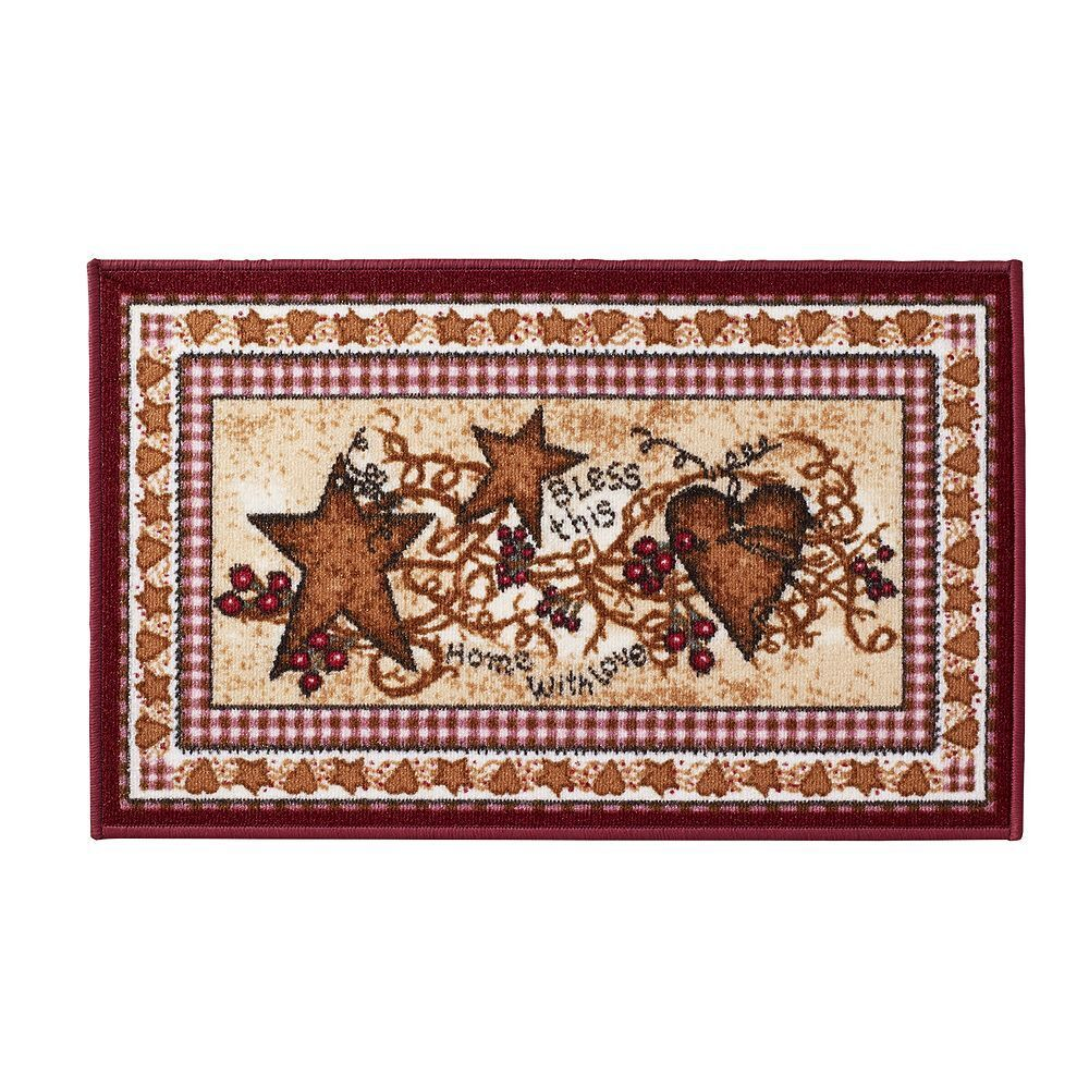 primitive country hearts and stars accent rug berries bless this home bath rug ebay