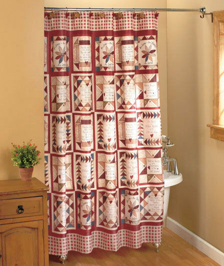 Inspirational patchwork shower curtain linda spivey country bath decor ebay Bathroom decor ideas with shower curtain