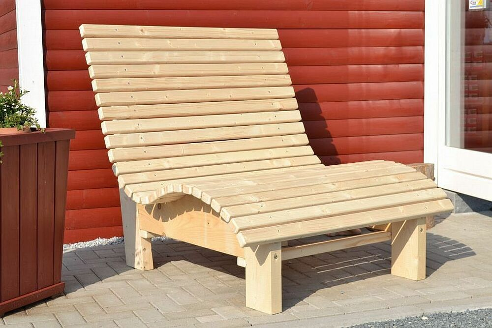 liegestuhl relaxliege sonnenliege aus holz f r garten terasse balkon ebay. Black Bedroom Furniture Sets. Home Design Ideas