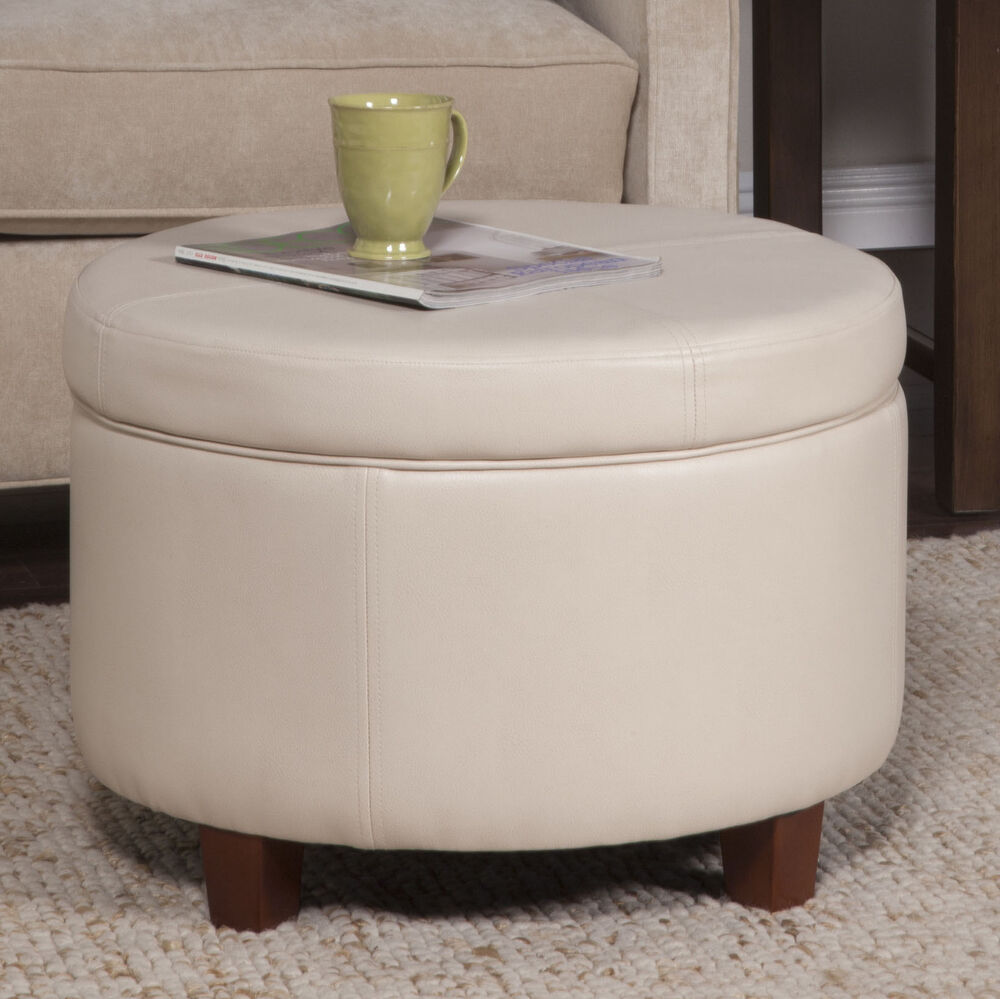 Leather storage ottoman modern round contemporary bench furniture faux stool new ebay Round ottoman coffee table with storage