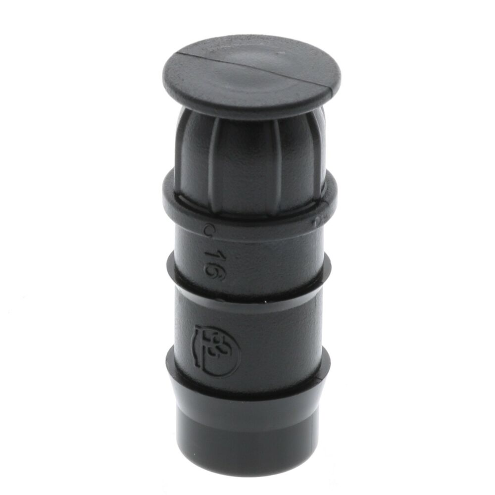 Barbed quot tubing end cap for drip irrigation systems