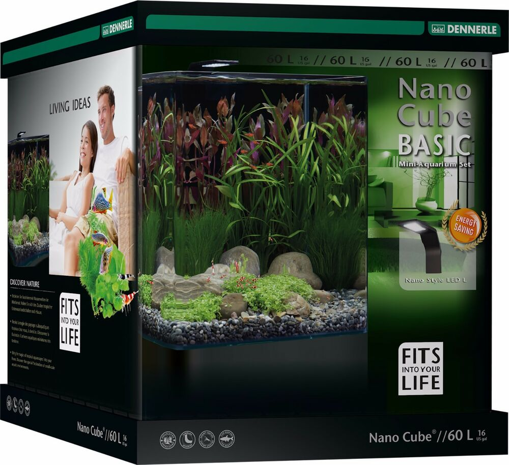 dennerle nano cube 60l basic panorama aquarium tank with led light filter ebay. Black Bedroom Furniture Sets. Home Design Ideas