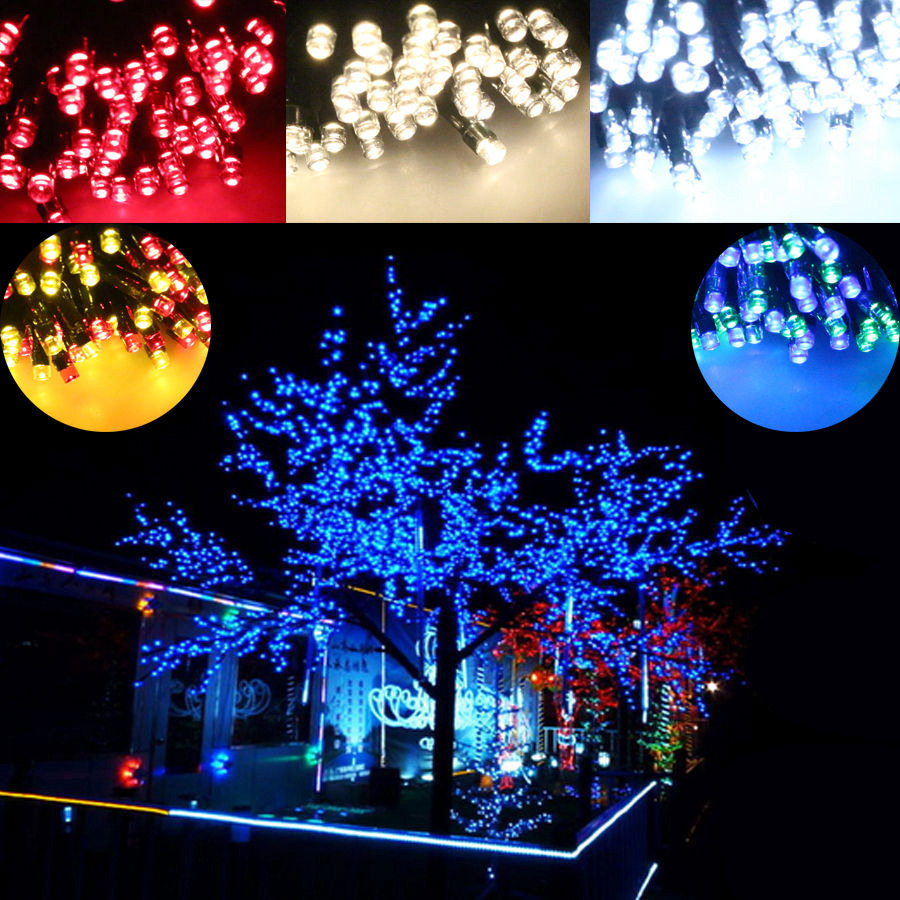 String Lights On Outdoor Tree : 100/200 Colorful LED Solar String Lights Multi Christmas Tree Outdoor Fairy DT2 eBay