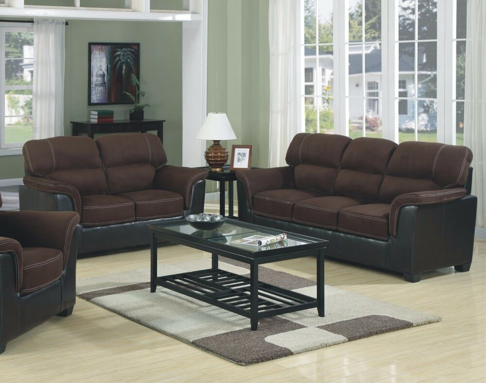Brand New Microfiber Two Tone Sofa Loveseat 2pc Sofa Set Living Room Furniture Ebay