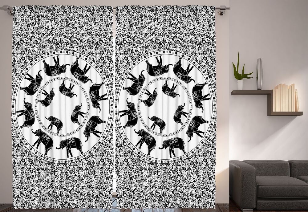 Set of two black white african elephant window panels African elephant home decor