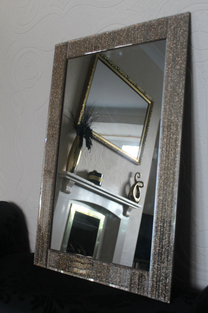 Large Golden Glitter Frame Wall Mirror Golden Sparkle