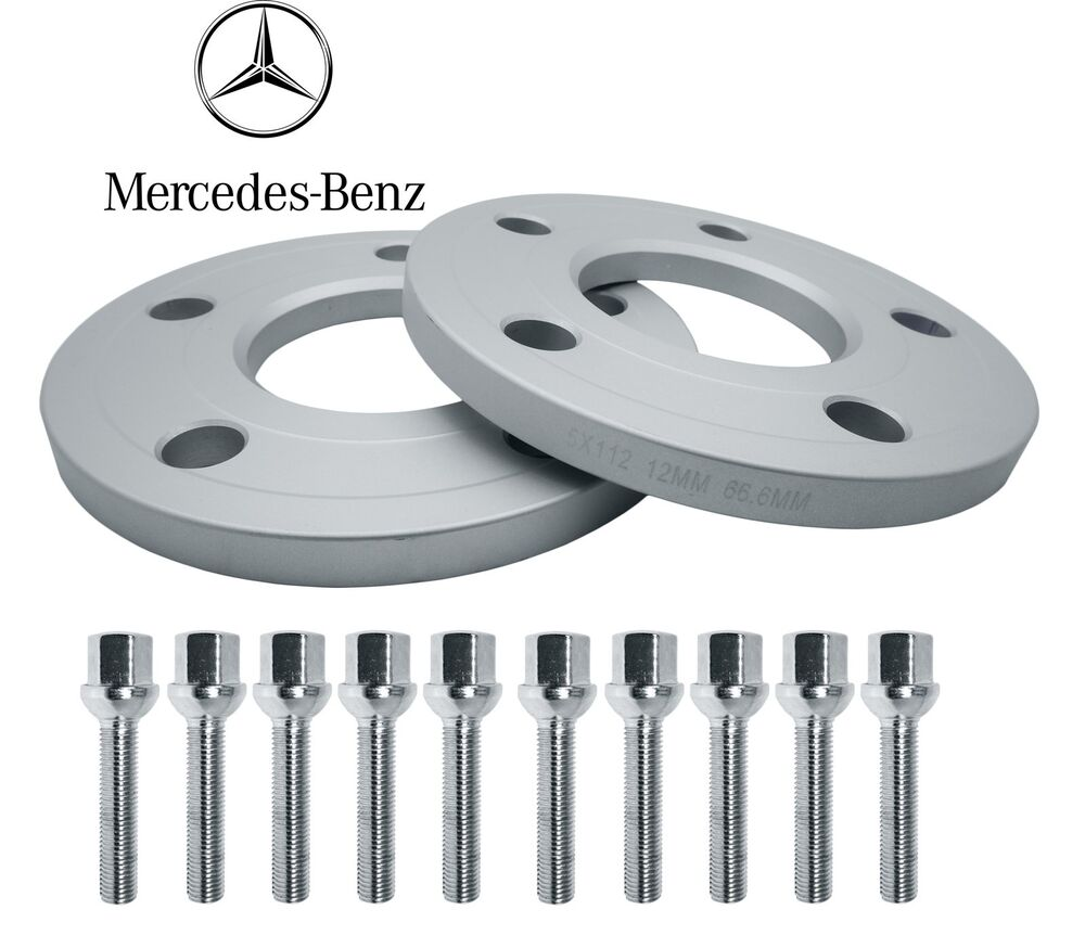 Mercedes benz front hub wheel spacers kit 5x112 12mm thick for Wheel spacers for mercedes benz