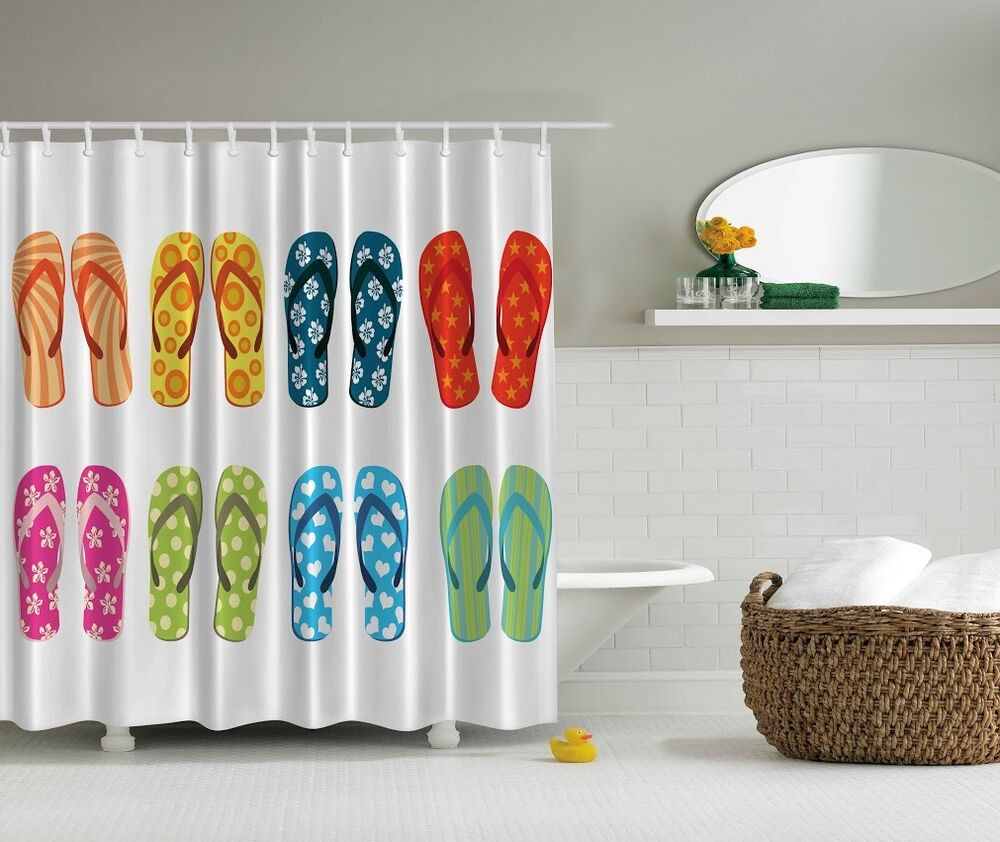 Tropical beach colorful flip flop shower curtain hawaiian for Colorful bathroom accessories