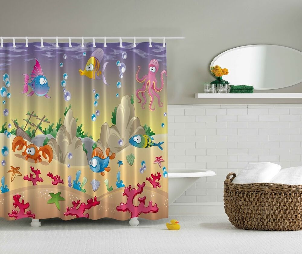 Octopus crab fish sea life shower curtain ship under the for Sea bath accessories