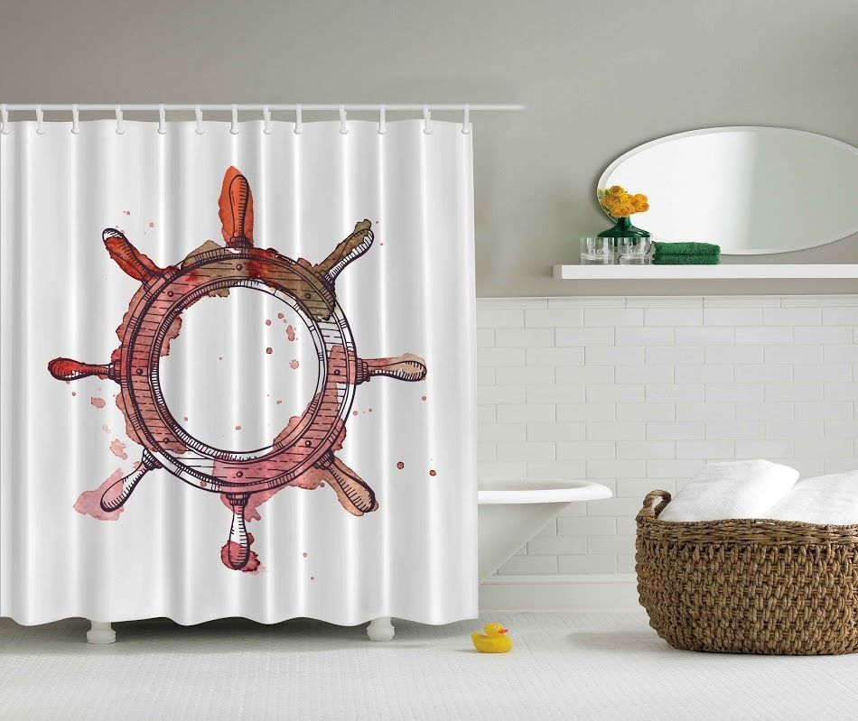 Red Ship Wheel Shower Curtain Water Sea Nautical Bathroom