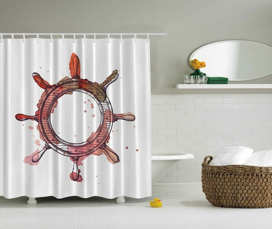 Red ship wheel shower curtain water sea nautical bathroom for Sea bathroom set