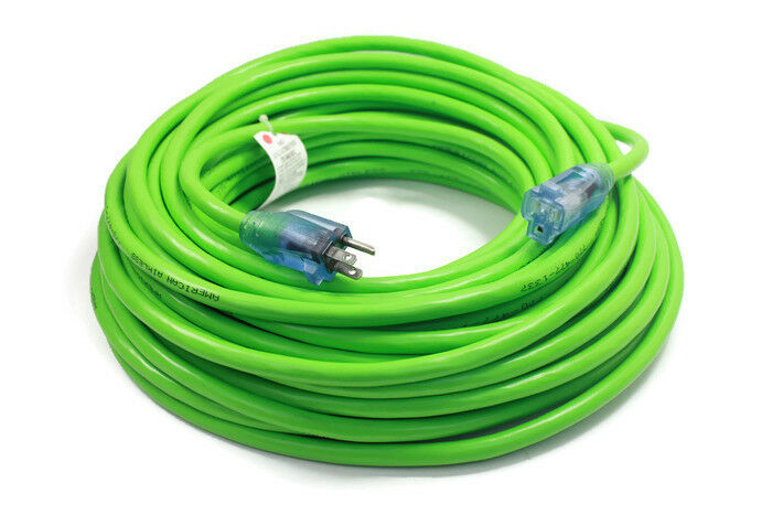 Green Extension Cord : Ft extension cord plug lighted gauge electrical