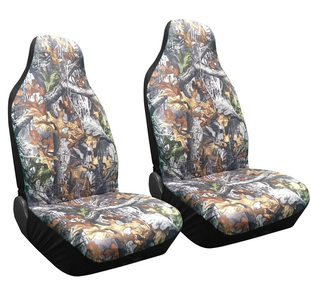 Set Of 2 Camo Forest Front Seat Covers High Back Bucket