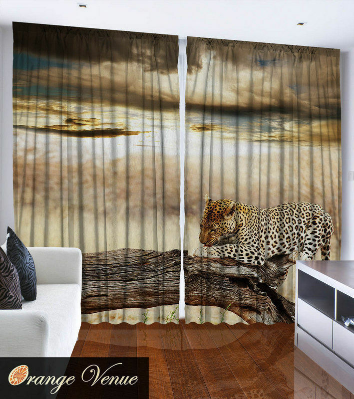 Set Of Two Leopard Cheetah Jungle Window Panel Set Animal