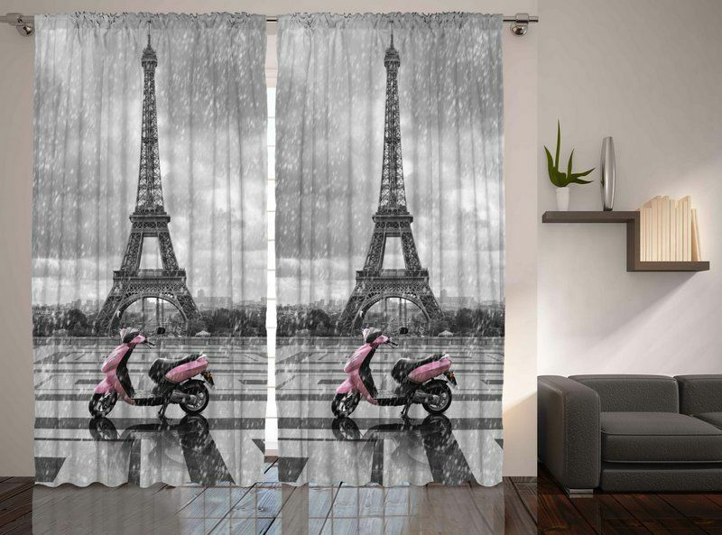 Set of two eiffel tower window panels france paris city for Art decoration france