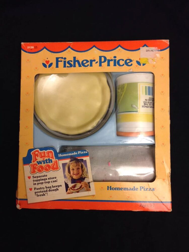 vintage 1988 fisher price with play food pizza in box ebay