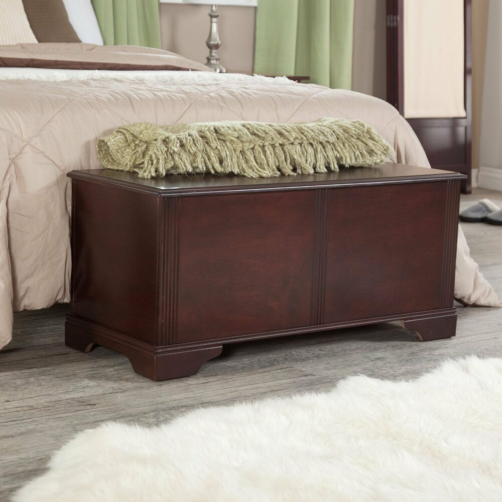 Wood storage bench entryway modern accent hallway foyer organizer bedroom chest ebay Bench in front of bed