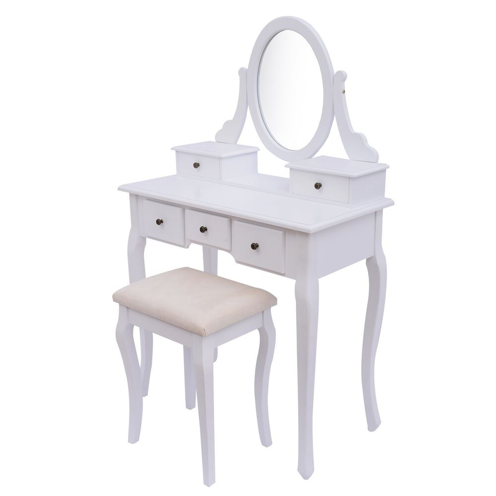 Peony White Dressing Table Set With Adjustable Oval Mirror